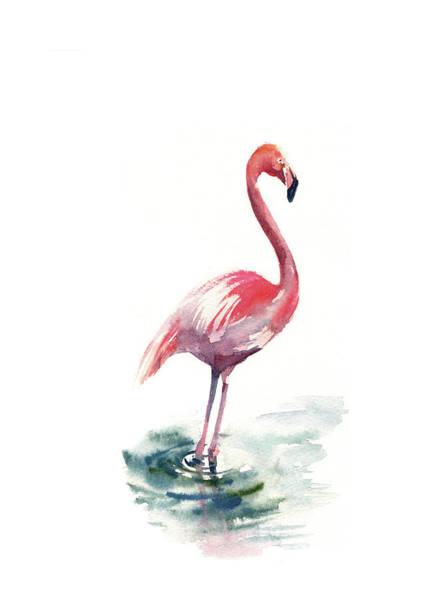 Flamingo Watercolor Painting - Pink Flamingo II by Sophia Rodionov