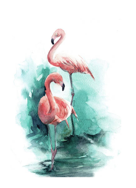 Flamingo Watercolor Painting - Pink Flamingo by Sophia Rodionov