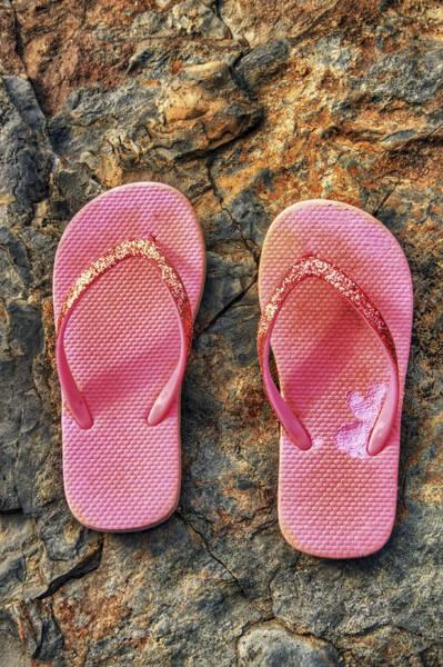 Photograph - Pink Flip Flops On A Rock by Jason Politte
