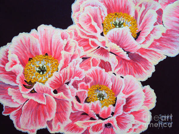 Painting - Peony Painting Oil On Canvas No.2 by Drinka Mercep