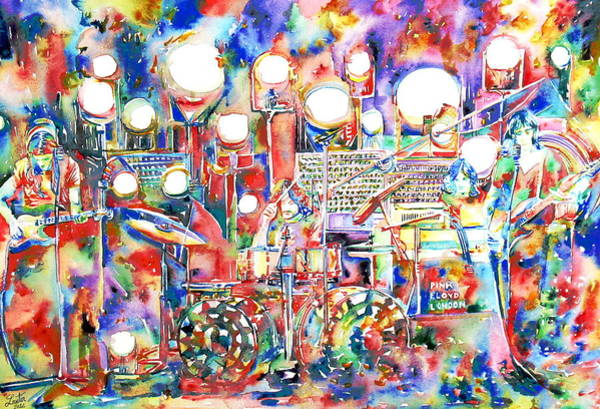 Group Painting - Pink Floyd Live Concert Watercolor Painting.1 by Fabrizio Cassetta