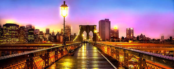 Suspension Bridge Photograph - Pink Fog Of New York City by Az Jackson