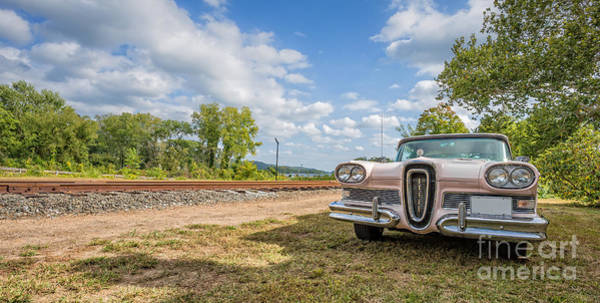 Railroad Car Photograph - Pink Ford Edsel  by Edward Fielding
