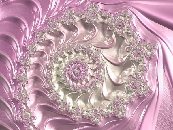 Pink And White Digital Art - Pink Fractal Spiral Art Bright And Luxe by Matthias Hauser