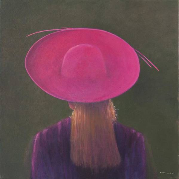 Head And Shoulders Photograph - Pink Hat, 2014 Oil On Canvas by Lincoln Seligman