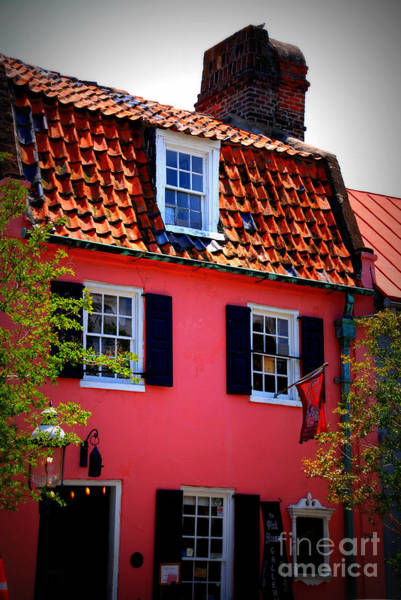Photograph - Pink House Gallery On Cobblestone Street In Charleston by Susanne Van Hulst