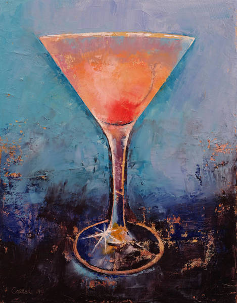 Lemonade Wall Art - Painting - Pink Lemonade Martini by Michael Creese
