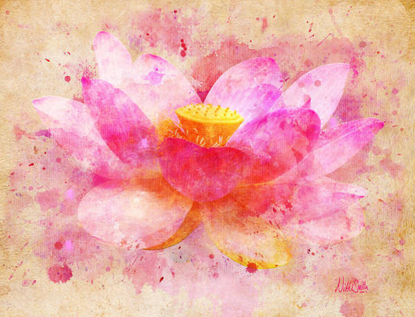 Cheerful Digital Art - Pink Lotus Flower Abstract Artwork by Nikki Marie Smith