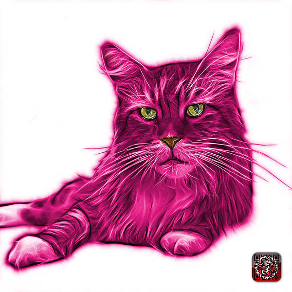 Painting - Pink Maine Coon Cat - 3926 - Wb by James Ahn