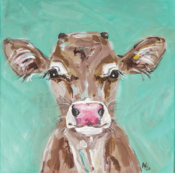 Wall Art - Painting - Pink Nosed Cow by Molly Susan Strong