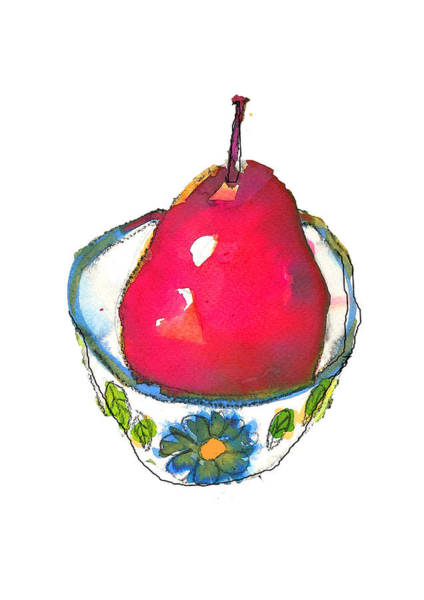 Painting - Pink Pear In Floral Bowl by Tracy-Ann Marrison