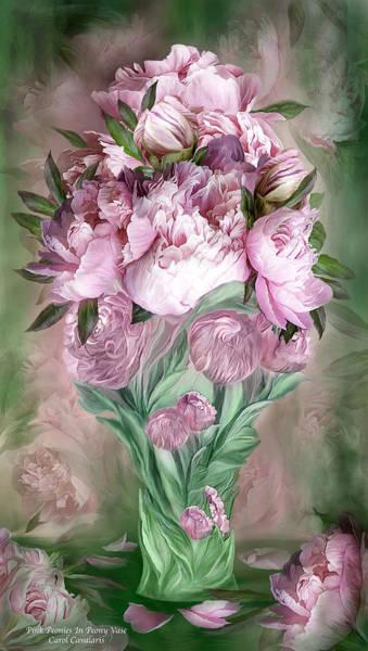 Mixed Media - Pink Peonies In Peony Vase by Carol Cavalaris