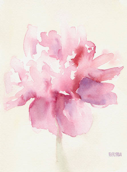 Brown Wall Art - Painting - Pink Peony Watercolor Paintings Of Flowers by Beverly Brown