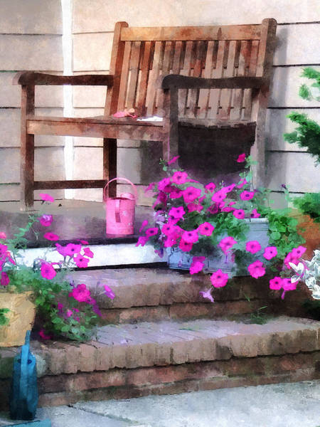 Photograph - Pink Petunias And Watering Cans by Susan Savad