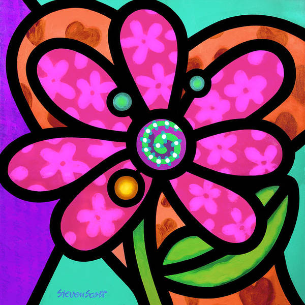 Wall Art - Painting - Pink Pinwheel Daisy by Steven Scott