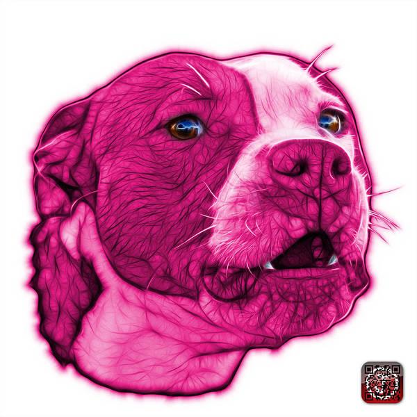 Mixed Media - Pink Pitbull Dog Art - 7769 - Wb - Fractal Dog Art by James Ahn