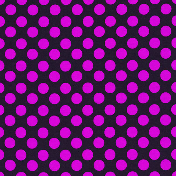 Girly Photograph - Pink Polka Dots On Black Fabric Background by Keith Webber Jr