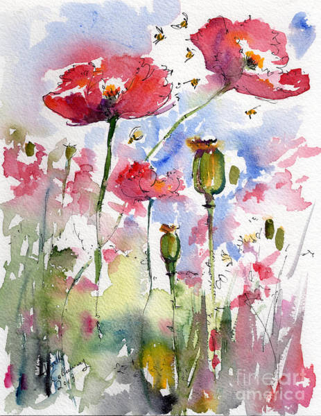 Painting - Pink Poppies Pods And Bees Watercolor By Ginette by Ginette Callaway