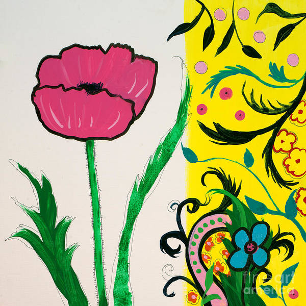 Painting - Pink Poppy And Designs by Robin Maria Pedrero