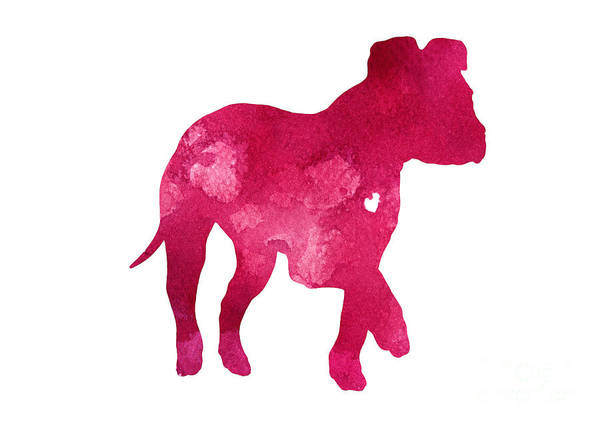 Staffordshire Wall Art - Painting - Pink Puppy Silhouette Large Poster by Joanna Szmerdt
