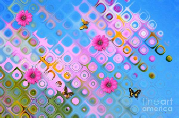 Butterfly On Flower Digital Art - Pink Reflections by Liane Wright