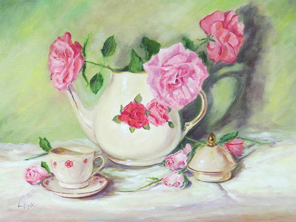 Cabbage White Painting - Pink Roses And Tea by Jean Costa