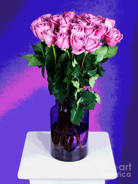 Photograph - Pink Roses In Purple Vase by Larry Oskin