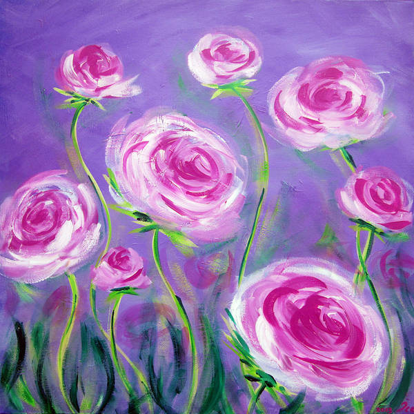Nz.impressionist Painting - Pink Roses by Ira Mitchell-Kirk