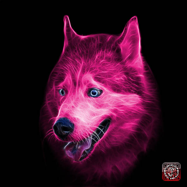 Painting - Pink Siberian Husky Dog Art - 6062 - Bb by James Ahn