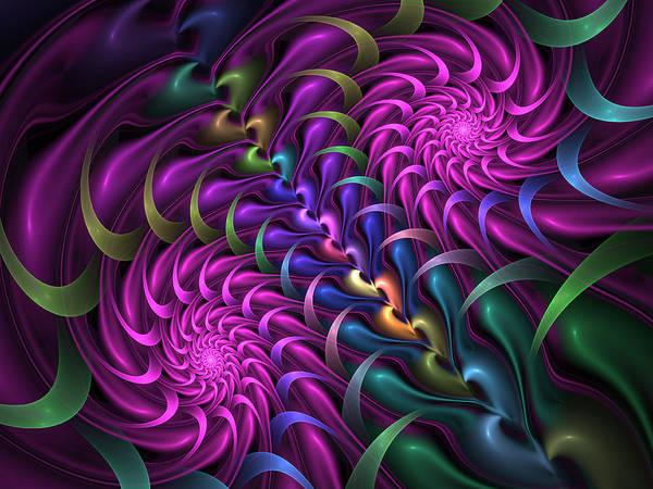 Phantasy Digital Art - Pink Spirals by Gabiw Art