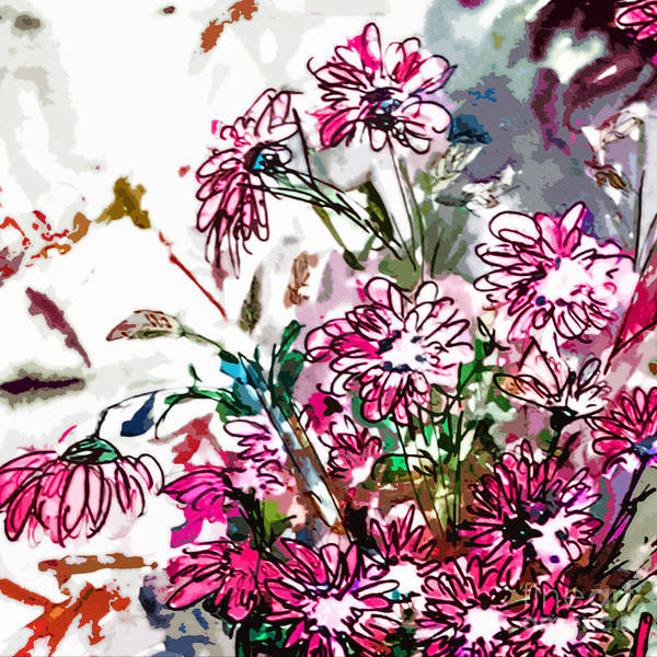 Mixed Media - Pink Spray Flower Art by Ginette Callaway