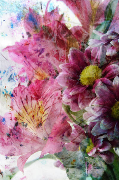 Digital Art - Pink Spring Bouquet And Abstract Painting by Anita Burgermeister