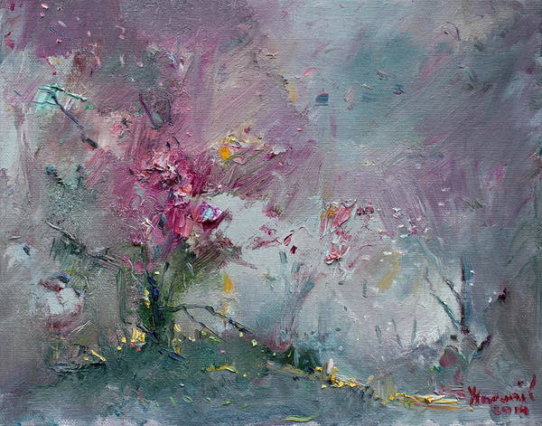 Blooming Tree Painting - Pink Spring by Ylli Haruni