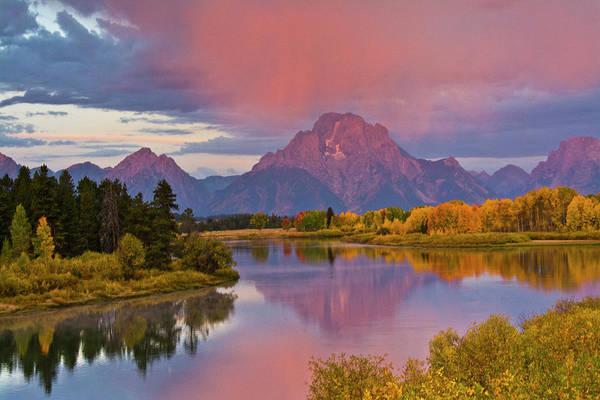 Mount Moran Photograph - Pink Sunrise, Oxbow, Grand Teton by Michel Hersen
