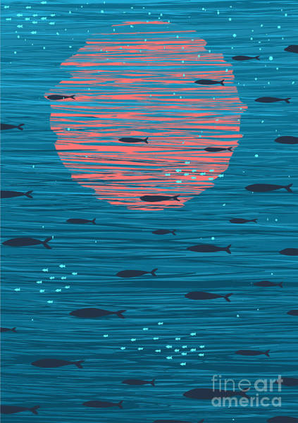 Bright Digital Art - Pink Sunset And Fish Underwater Cartoon by Popmarleo