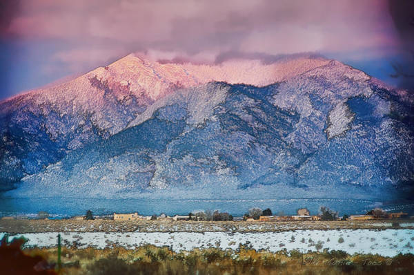 Mixed Media - Pink Sunset On Taos Mountain by Charles Muhle