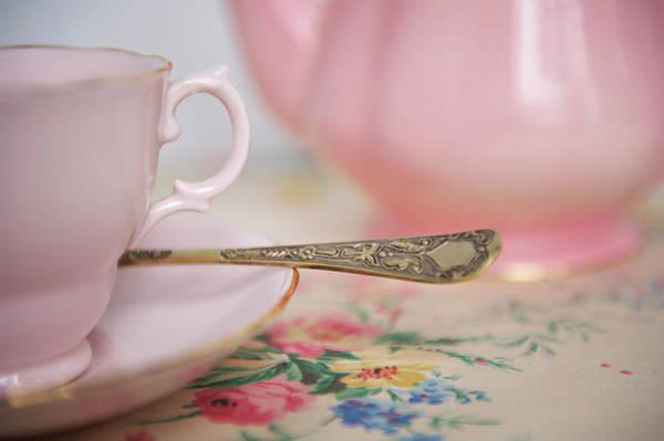 Teapot Photograph - Pink Teapot And Cup Of Tea by Sharon Lapkin