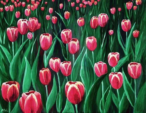 Painting - Pink Tulip Field by Anastasiya Malakhova