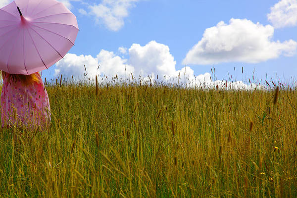 Photograph - Pink Umbrella In The Meadow by Maggie McCall