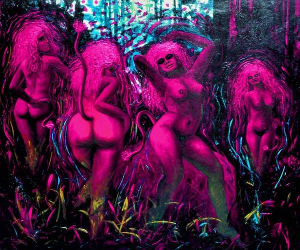 She Mixed Media - Pink Wood Nymphs by Genio GgXpress