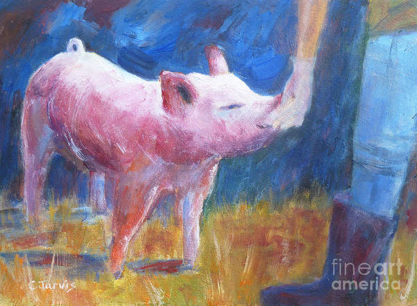 Painting - Pinkie The Pig by Carolyn Jarvis