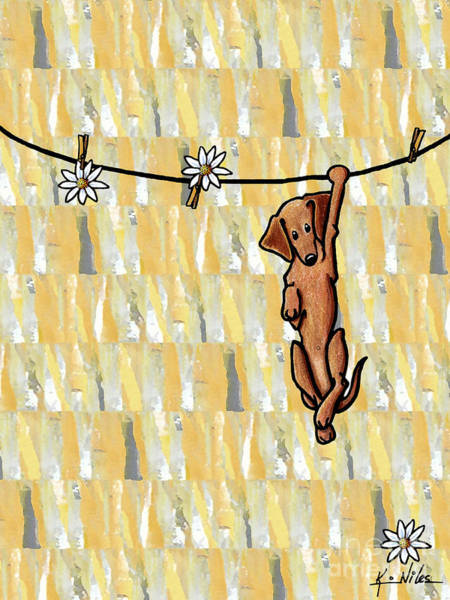 Pup Drawing - Pinning Down Daisies by Kim Niles