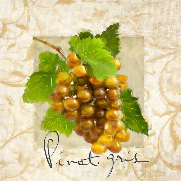 Bread And Wine Painting - Pinot Gris by Lourry Legarde
