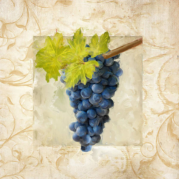Bread And Wine Painting - Pinot Noir II by Lourry Legarde
