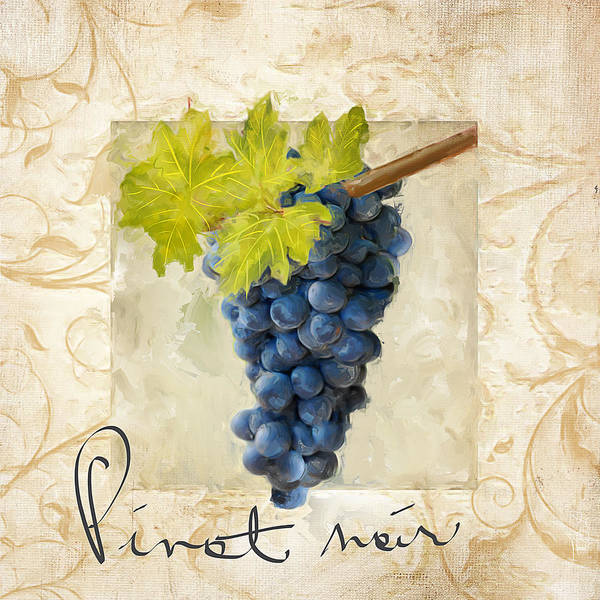Bread And Wine Painting - Pinot Noir by Lourry Legarde