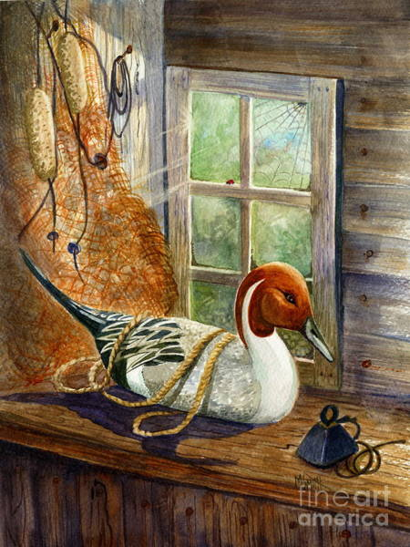 Netting Painting - Pintail Duck Decoy by Marilyn Smith