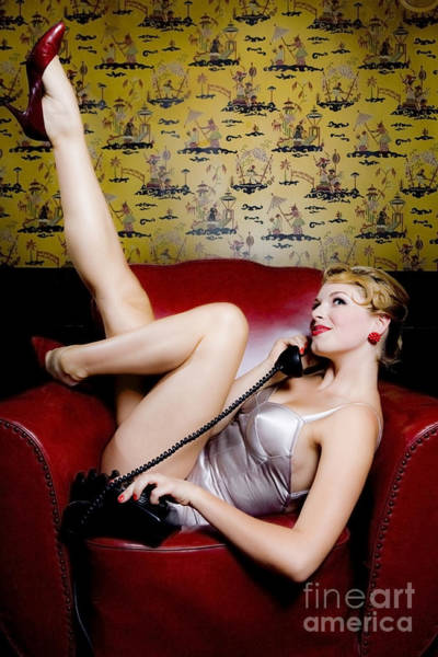 Blonde Photograph - Pinup Girl With Phone by Diane Diederich
