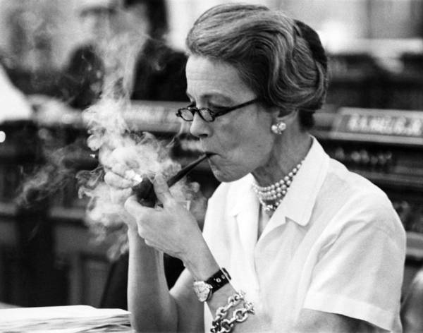 Legislature Photograph - Pipe Smoking Woman Legislator by Underwood Archives