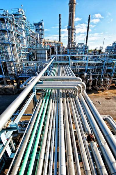Wall Art - Photograph - Pipelines At Oil And Gas Refinery by Christian Lagerek/science Photo Library
