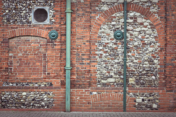 Drainage Photograph - Pipes And Wall by Tom Gowanlock